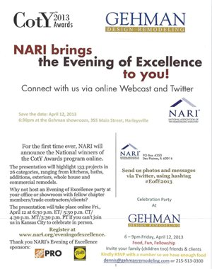 Gehman invites clients, employees and fellow members to celebrate the CotY Award announcements at his Evening of Excellence Webcast party.