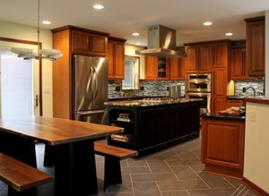 The kitchen was the first room to be remodeled in Phase 1 of the IDEA House. The fully-functional kitchen features high-end appliances and finishes for a dramatic effect.